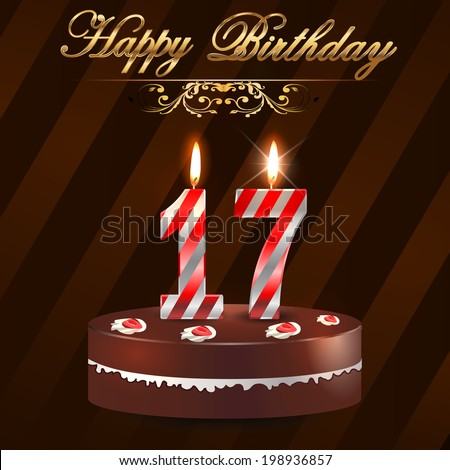 17 Year Happy Birthday Card With Cake And Candles 17th