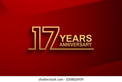 17 years anniversary line style design golden color with elegance red background for celebration