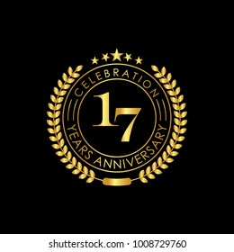 17 Years Anniversary Logo Template, isolated on black background. Vector illustration