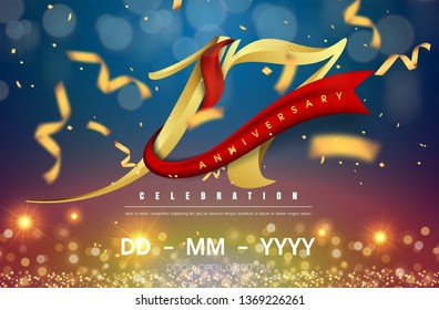 17 years anniversary logo template on gold and blue background. 17th celebrating golden numbers with red ribbon vector and confetti isolated design elements
