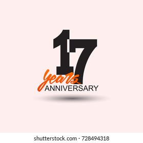17 years anniversary simple design with negative style and yellow color isolated in white background