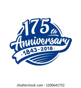 175 years anniversary design template. Vector and illustration. 175th logo.