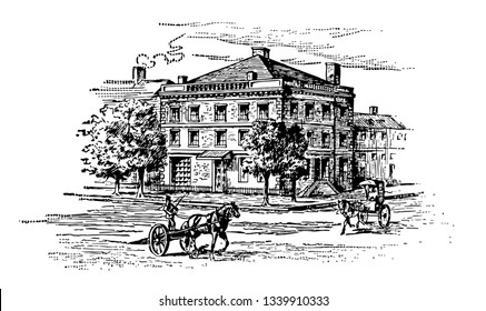In 1789 George Washington lived on Cherry Street New York in a four to story mansion. This house served as the first Executive Mansion of the President of the United States vintage
