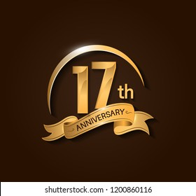 17th Anniversary design logotype. Anniversary logo design with swoosh and elegance golden ribbon. Vector template for use celebration, invitation card, and greeting card