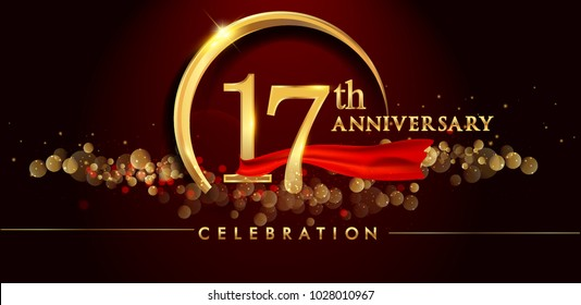 17th anniversary logo with golden ring, confetti and red ribbon isolated on elegant black background, sparkle, vector design for greeting card and invitation card