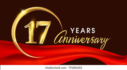 17th anniversary logotype with golden ring isolated on red ribbon elegant background, vector design for birthday celebration, greeting card and invitation card.