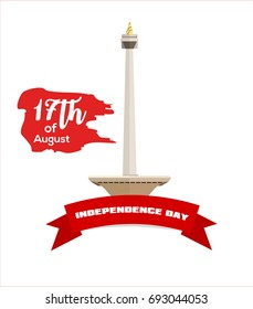 17th of August . Indonesia Independence Day Vector illustration with famous landmark.