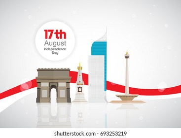 17th of August . Indonesia Independence Day Vector illustration with famous monuments & landmarks