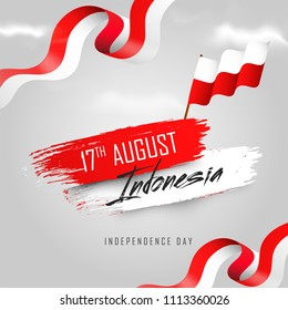 17th August, Indonesian Independence Day banner or poster design with Waving flag in national flag colors background.