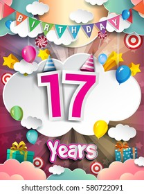 17th Birthday Celebration greeting card Design, with clouds and balloons. Vector elements for the celebration party of seventeen years anniversary