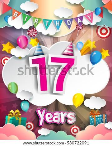 17th Birthday Celebration Greeting Card Design Stock Vector Royalty