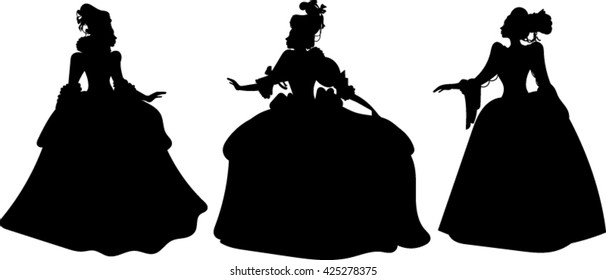 17th Century - Woman - Silhouette - Vector - Illustration