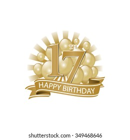 17th golden happy birthday logo with balloons and burst of light