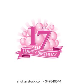 17th pink happy birthday logo with balloons and burst of light