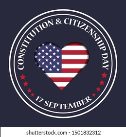 17th September American constitution and Citizenship Day with USA flag in heart shape,Logo design, vector illustration
