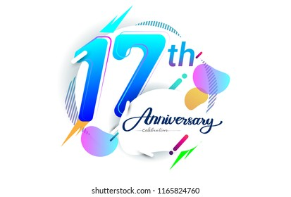 17th years anniversary logo, vector design birthday celebration with colorful geometric background, isolated on white background.