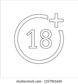 18+ age black line circle limit icon vector
