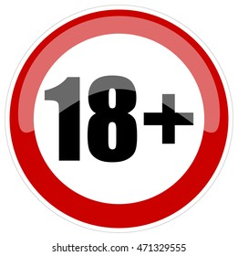 18+ Age Restriction Round Red and White Glossy Sign, Vector Illustration isolated on White Background.