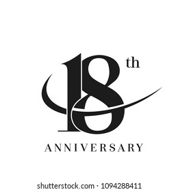18 Anniversary Celebration simple monogram Design. pictogram vector icon, simple years birthday logo label, black and white stamp isolated