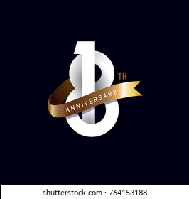 18 anniversary logo with gold ribbon. template design for web, game ,Creative poster, booklet, leaflet, flyer, magazine, invitation card