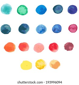 18 circle form brush stroke. Rounded colored shapes on white background. Drawing created in watercolor sketch handmade technique. Vector illustration design element 8 eps