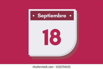 18 de Septiembre. Dia del mes. Calendario (September 18th. Day of month. Calendar in spanish) vector illustration icon.