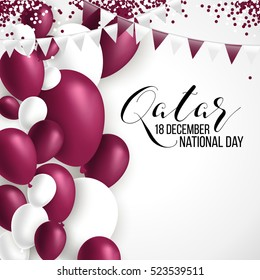 18 December Qatar happy national day background with waving flag, balloon, confetti with national colors. Maroon, white. Template design layout for card, banner, poster, flyer, card. Independence day