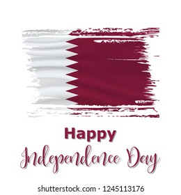 18 December,  Qatar Independence Day background in national flag color theme. Celebration banner with waving flag. Vector illustration