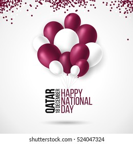 18 december Qatar national day background with waving flag, balloon, confetti with national colors. Maroon, white. Template design layout for card, banner, poster, flyer, card. Happy independence day