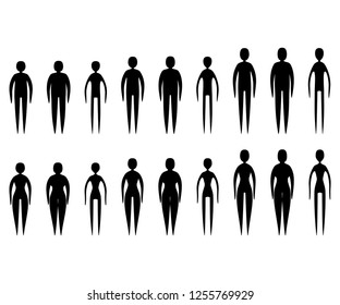 18 different vector body type silhouettes isolated on white. Stylized men and women shapes of different constitution and height