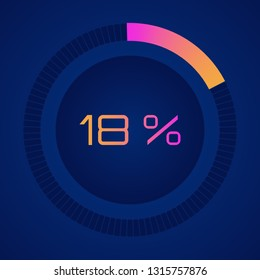 18 % eighteen percent. Vector digital count down circle board. Circular sector percentage diagrams (meters) - indicator with gradient from hot pink to orange. Vector Colorful pie charts percent