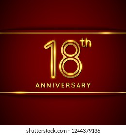 18 / Eighteen Years Anniversary Logo with Shiny Golden Number on Red Background Isolated. 18th / Eighteenth Celebration Event. Can Use for Poster, Invitation and Greeting Card. Easily Editable Vector.