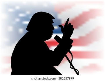 18, Feb, 2017: Donald Trump silhouette on the US flag background.