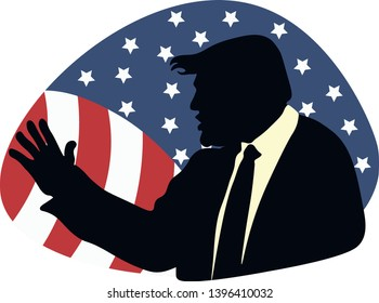 18, Feb, 2017: Vector illustrations of silhouette of Donald Trump