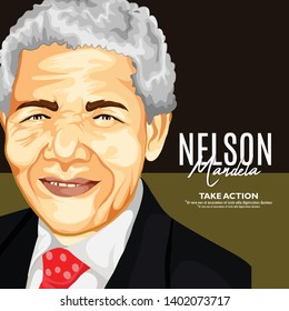 18 July,Nelson Mandela International Day.South African- political leader, and philanthropist, who served as President of South Africa from 1994 to 1999. colour Portrait Drawing  Illustration.- vector