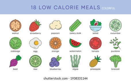 18 low calorie icon set. Low calorie diet snack foods vector line icons set. Isolated on a white background. Modern editable color icon set. Your web mobile application logo design.