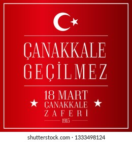 18 mart Canakkale Zaferi Vector illustration on red basckground. (18 March, Canakkale Victory Day Turkey). Design for banner and card.