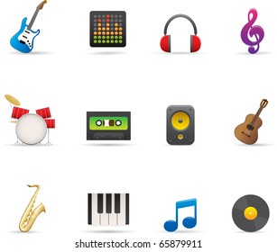 18 Music Icons Set Professional vector set for your website, application, or presentation. The graphics can easily be edited colored individually and be scaled to any size