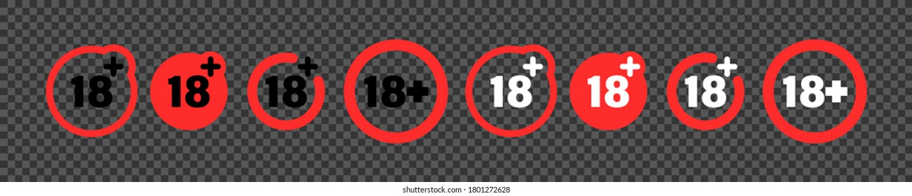 18 over years underage warning, eighteen plus year recomendation collection rating over red circle icon set