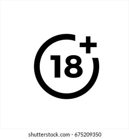 18 plus icon in trendy flat style isolated on background.18 plus icon page symbol for your web site design 18 plus icon logo, app, UI. 18 plus icon Vector illustration, EPS10.