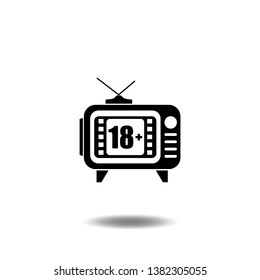 18 plus icon vector with television.Under eighteen flat sign symbols logo line pictogram illustration design black color.
