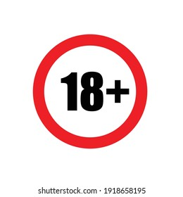 18 plus icon vector under eighteen years prohibition sign, adults only for your web design, logo, infographic, UI. illustration