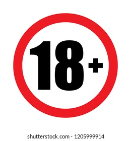 18 plus icon vector,under eighteen flat sign prohibition symbol illustration isolated on white background.