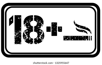 18 plus sign icon vector, cigarette, print, adult print, background