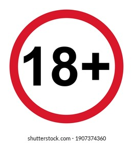 18+ restriction flat sign isolated on white background. Age limit symbol. No under eighteen years warning illustration .