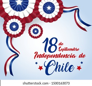 18 September. Chile Happy Independence Day Cockade. Vector illustration.