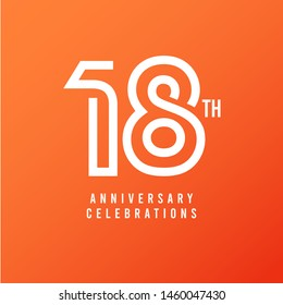 18 Th Anniversary Celebration Vector Template Design Illustration