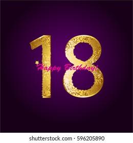 18 th anniversary. Happy Birthday! Gold stars.