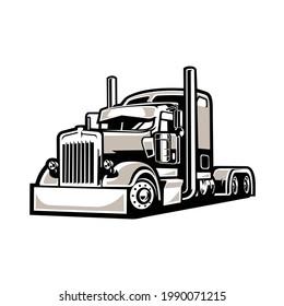 18 Wheeler Freightliner Semi Truck Vector Isolated EPS