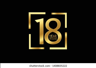 18 year anniversary celebration logotype. anniversary logo with golden and light white color isolated on black background, vector design for celebration, invitation and greeting card-Vector